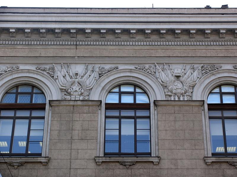 Советская символика в декоре дома, ул. тверская 3