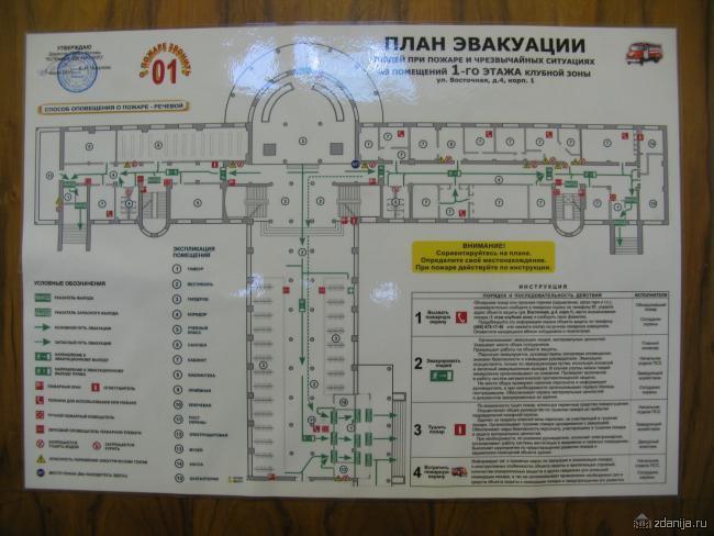 план эвакуации 1-ого этажа клубной зоны с экспликацией помещений ДК ЗИЛ
