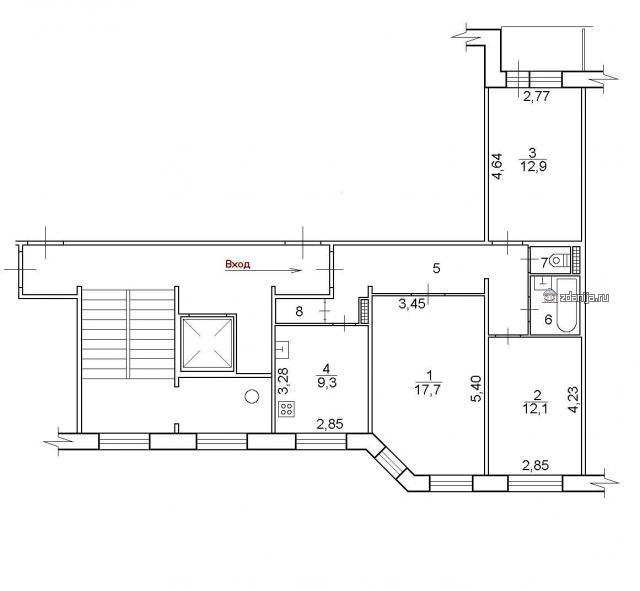 дома серии 112 (отр.адм) планировка трёхкомнатной квартиры