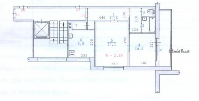 планировка двухкомнатной квартиры серия 90ну (отр.адм.)