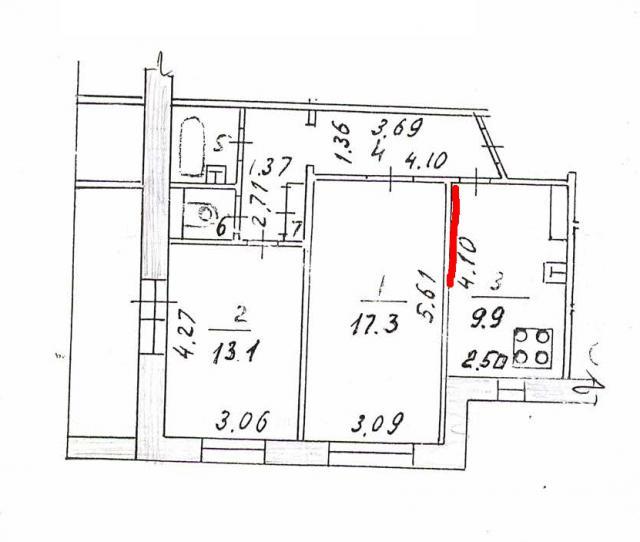 план квартиры (красным выделен участок стены, который хочу снести)