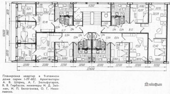 Планировка квартир типового дома 1ЛГ-602