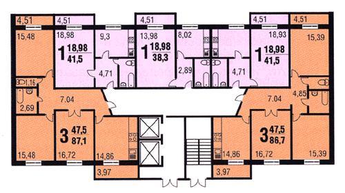 Архитектурно-планировочное решение:панельные секционные дома серии РД-90 с 1, 2, 3-комнатными квартирами улучшенных...