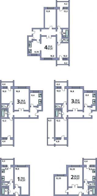 Дома серии П-152 - планировки квартир (однокомнатные, двухкомнатные, трехкомнатные, четырехкомнатные).