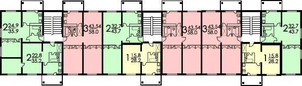Планировка квартир в жилой секции II-32