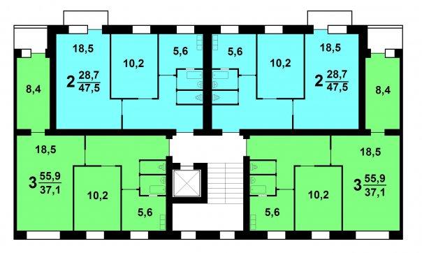 1-447С-47 и С48 рядовая секция планировки квартир