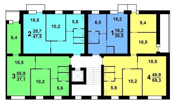 1-447С-47 и С48 торцевая секция планировки квартир