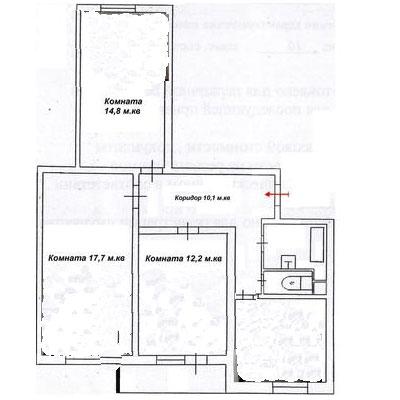 план 3 -ком квартиры Оборонная 1 г. Дмитров