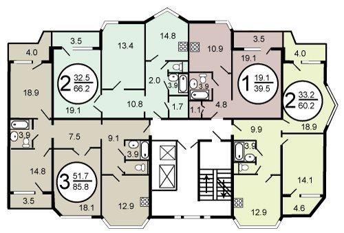 Дома серии П-44ТМ, поэтажные планировки квартир, особенности
