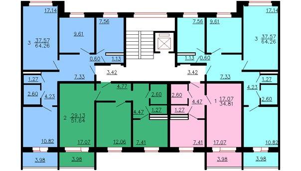 планировки квартир 121-041 121-042 121-043
