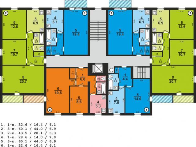 Дом серии 1-447С-25, планировки квартир с размерами - девятиэтажная башня, кирпич