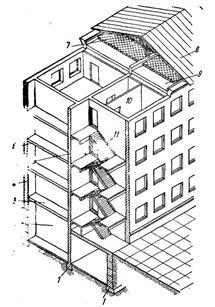 Конструкции многоэтажного жилого дома с кирпичными стенами