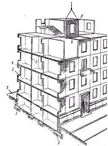 Конструкции многоэтажного жилого дома с крупнопанельными стенами