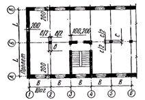 Схема расположения  разбивочных осей в плане здания