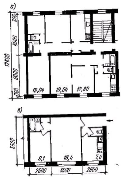 Фото Рис. 26. Размещение кухни и санитарного узла: а — смежное; б — раздельное (уборная рядом с кухней, ванная в глубине квартиры)