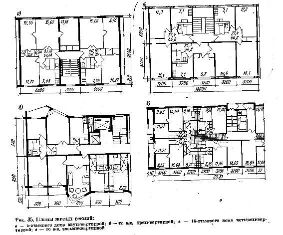 Фото Рис. 35 Планы жилых секций