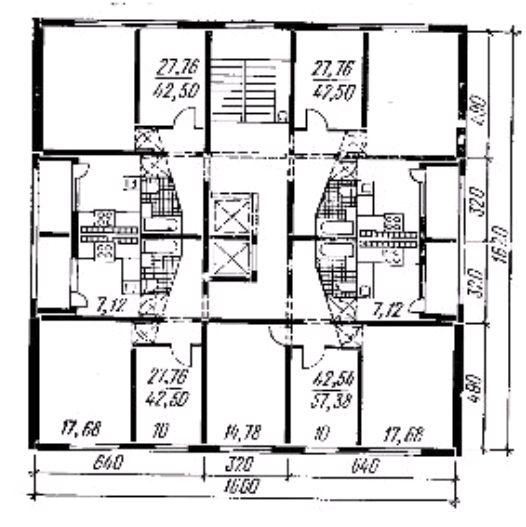 Фото Рис. 38. План типового этажа 9-этажного крупнопанельного односекционного дома (башенного типа)