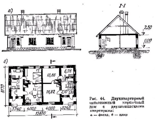 Фото рис 44. Двухквартирный одноэтажный кирпичный дом с двухкомнатными квартирами
