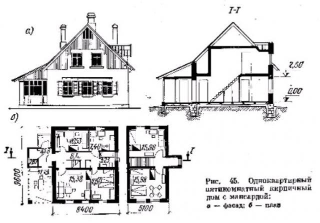 Фото рис 45. Одноквартирный пятикомнатный кирпичный дом с мансардой