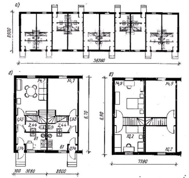 Фото рис 46. Двухэтажный 10-квартирный дом усадебного типа с трехкомнатными квартирами расположенных в двух  этажах