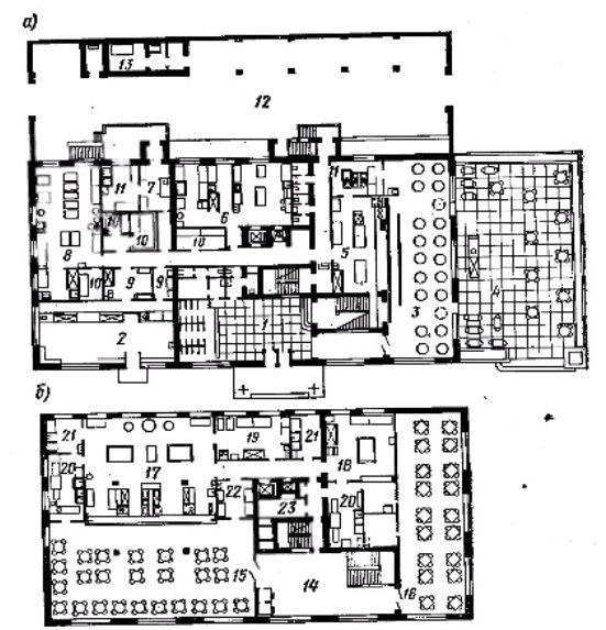 Фото Рис. 55. Планы двухэтажного здания комбината общественного питания для обслуживания населения   микрорайона