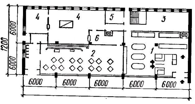 Фото Рис. 56. Проект одноэтажного кооперированного здания столовой и продовольственного магазина. План первого этажа