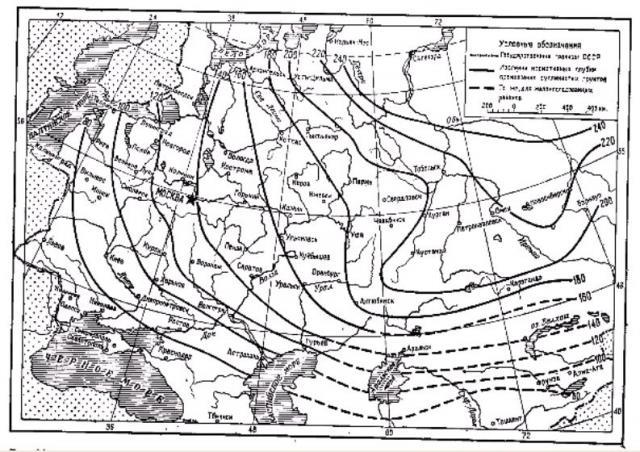 Фото Рис. 64. Схематическая карта средней глубины промерзания грунтов