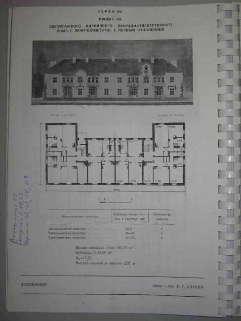 Серия 1-206-104 - Сталинка двухэтажка в лесах Битцевского парка