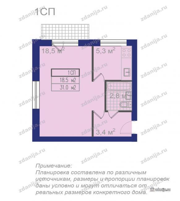 Планировки однокомнатных квартир (типовых), компановка ванных и санузлов