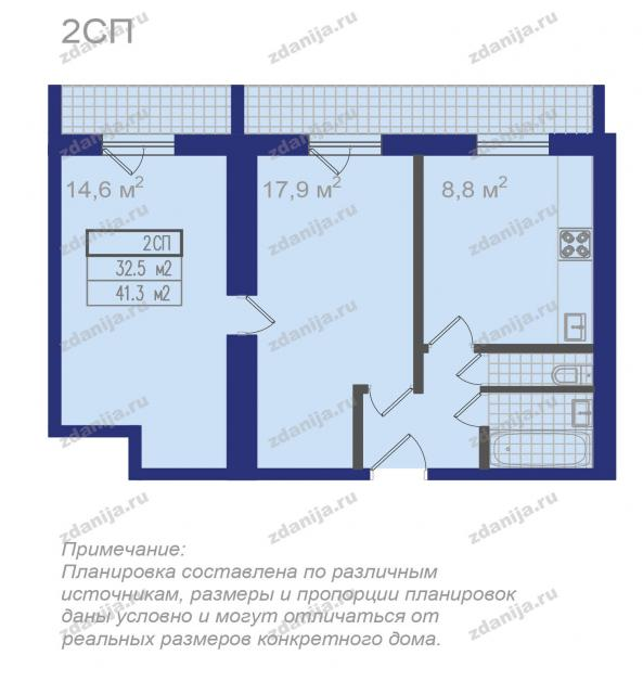 Планировки двухкомнатных квартир (типовых)