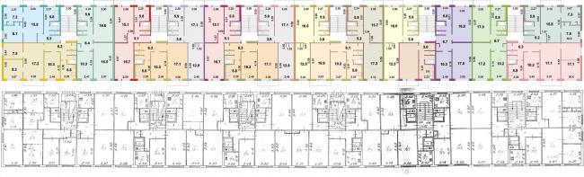 Серия 1-464А-15, пятиэтажные дома, панель - планировки квартир (отр.адм.)