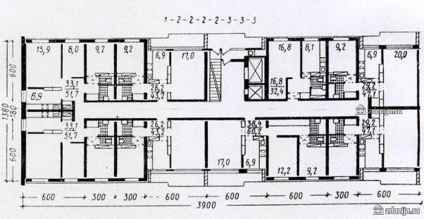 планировка квартир в секции серии II-60