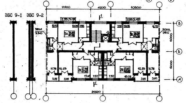 план типового этажа серии 87-080