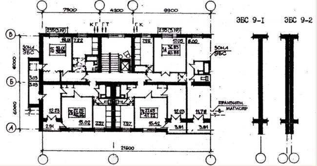 план типового этажа серии 87-082. фото