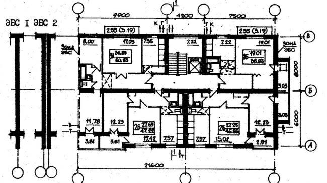 план типового этажа серии 87-084. фото