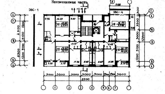 план типового этажа серии  96-034/1.2. фото