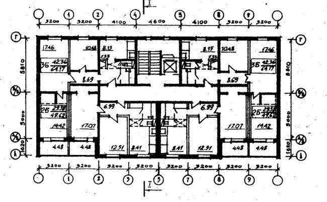 план типового этажа серии  065/1.2. фото