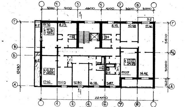план типового этажа серии 066/1.2-3. фото