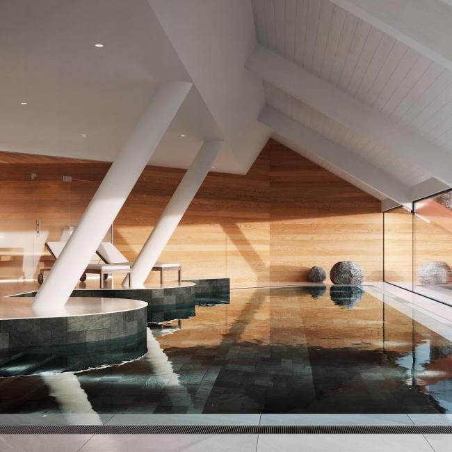 Интерьеры бассейнов в загородных домах