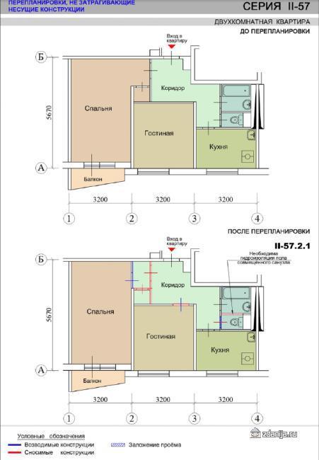 варианты перепланировок двухкомнатных квартир ii-57