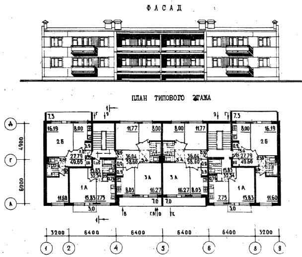 Серия 25 - планировки квартир (отр.адм.)  4-этажный панельный дом в Чeлябинcкe