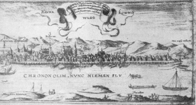 Панорама Каунаса Т. Маковского. Начало XVII в