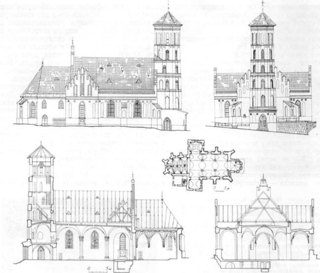 Францисканский костел. Северный и западный фасады, план, продольный и поперечный разрезы
