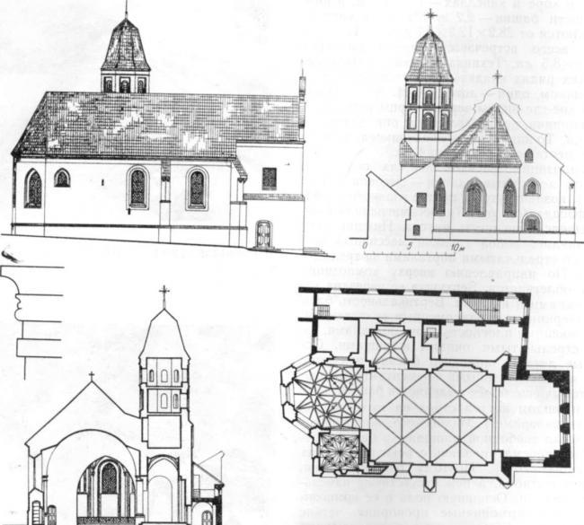 Костел св. Николая. Восточный п северный фасады, профиль карниза апсиды, поперечный разрез и план
