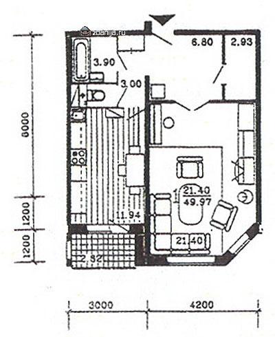планировка однокомнатной квартиры в жилом доме серии п55м