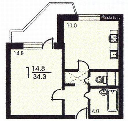 планировка однокомнатной квартиры А в жилом доме серии пд4