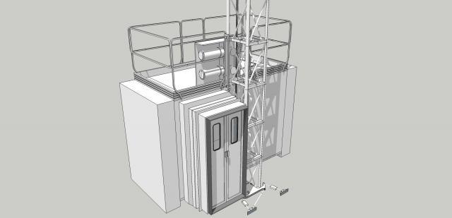 Одна из моделей пожарно-эвакуационного подъемника «ARC», оборудованная  выдвижным тамбуром для герметичного соединения подъемника с окном здания (рисунок Корчагина П.)