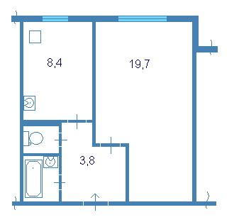 дом 83 серии ( 111-83 ) - планировка однушки