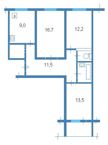 планировки трёхкомнатной квартиры, 83 серия