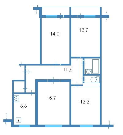 планировки четырёхкомнатной квартиры, 83 серия